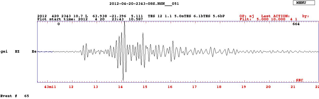 Ett typiskt seismogram inspelat av en seismograf